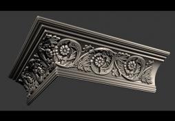 Плинтус с лепниной внешний угол 3D Max